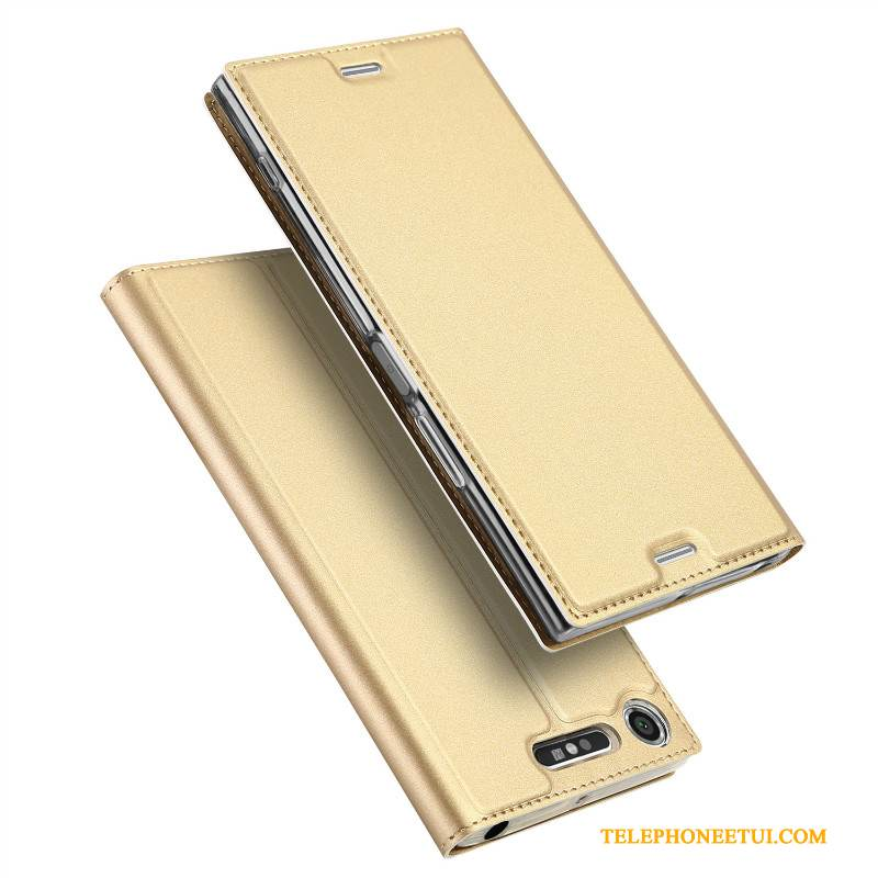 Coque Sony Xperia Xz1 Compact Cuir Or Business, Étui Sony Xperia Xz1 Compact Housse Incassable