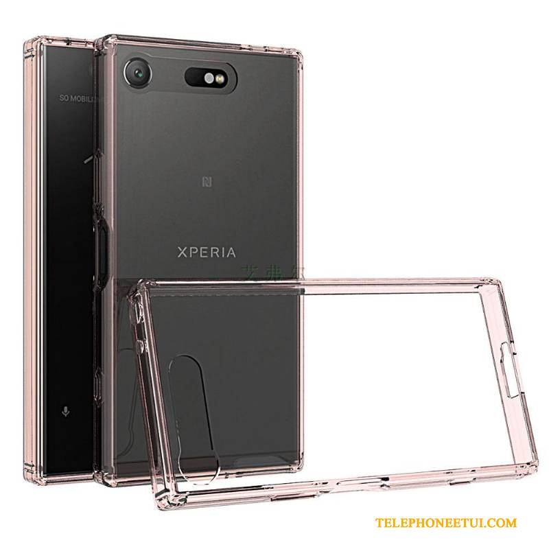 Coque Sony Xperia Xz1 Compact Protection Rose Transparent, Étui Sony Xperia Xz1 Compact De Téléphone