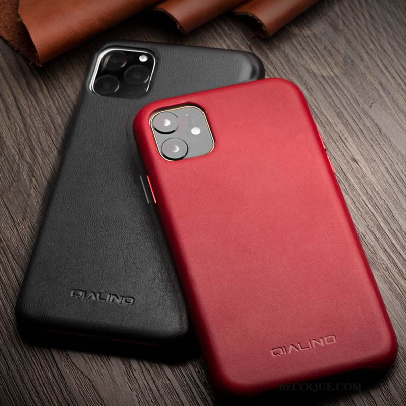 Coque iPhone 11 Pro Max Cuir Incassable Luxe, Étui iPhone 11 Pro Max Cuir Nouveau Simple