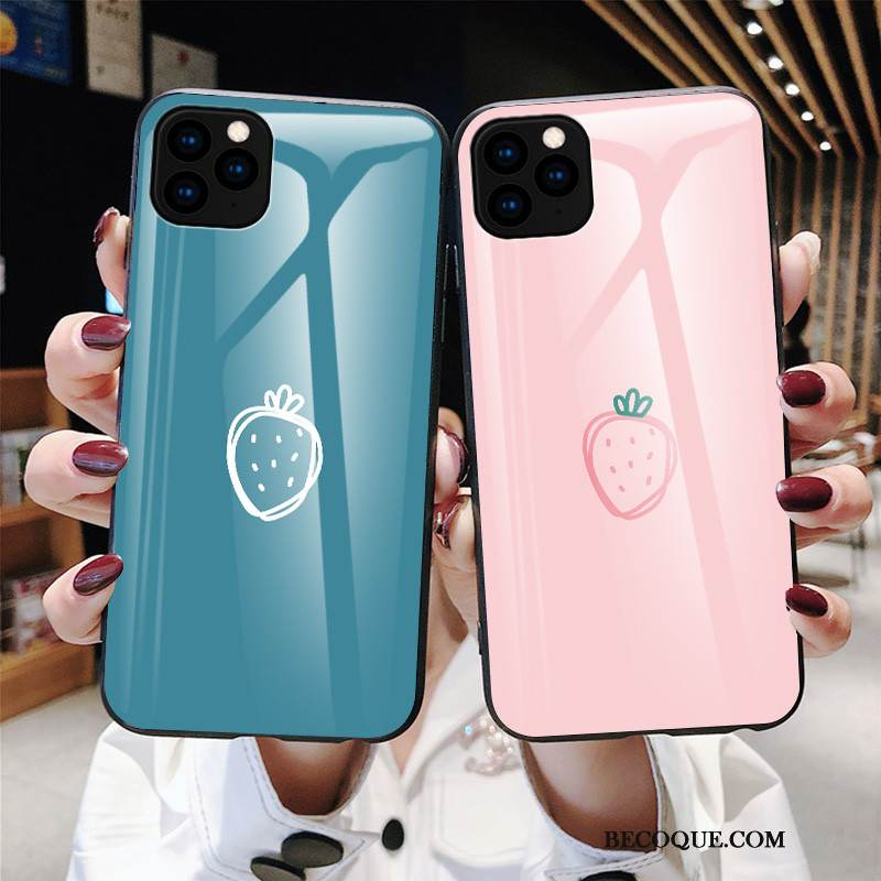 Coque iPhone 11 Pro Max Difficile Verre, Étui iPhone 11 Pro Max Simple Bleu