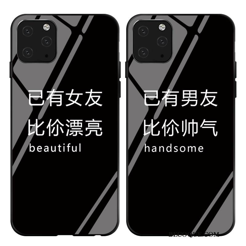 Coque iPhone 11 Pro Max Simple Amoureux, Étui iPhone 11 Pro Max Verre Noir