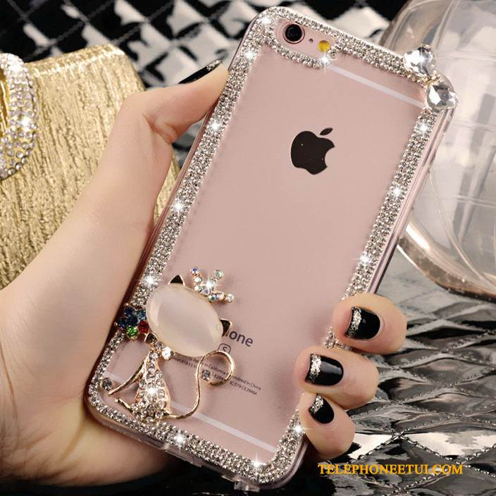 Coque iPhone 4/4s Strass Rose Charmant, Étui iPhone 4/4s Tendance Cristal