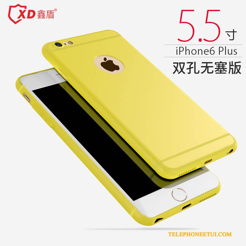 Coque iPhone 6/6s Plus Silicone Jaune Incassable, Étui iPhone 6/6s Plus Fluide Doux Simple Délavé En Daim