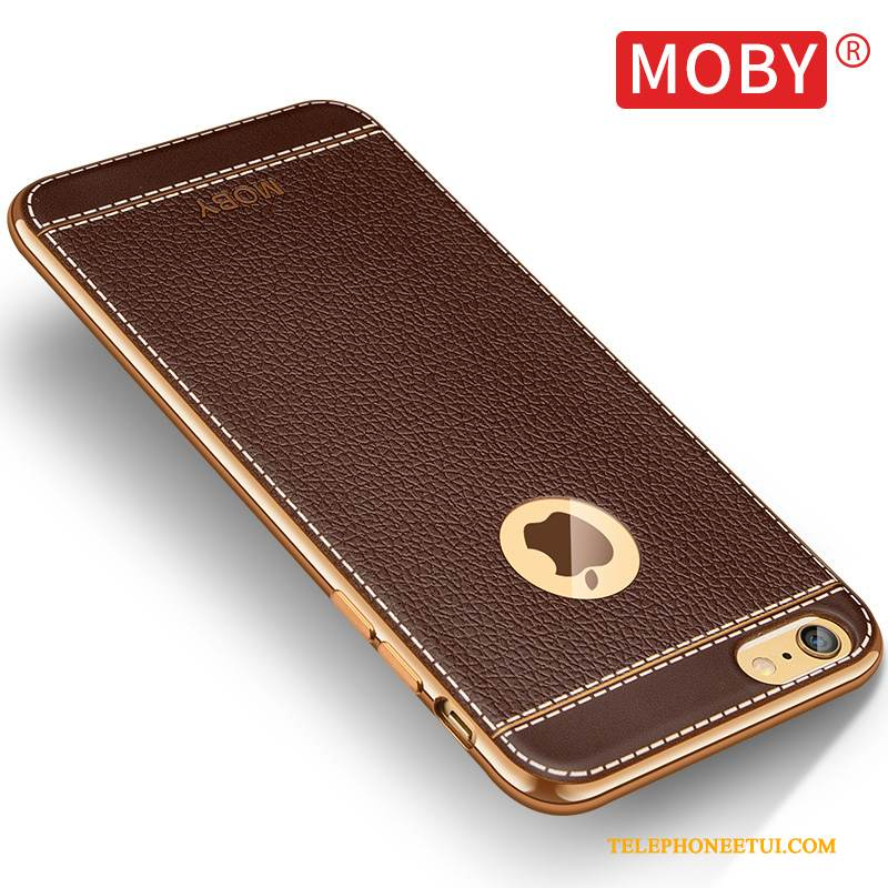 Coque iPhone 6/6s Silicone Marron Border, Étui iPhone 6/6s Fluide Doux De Téléphone Or