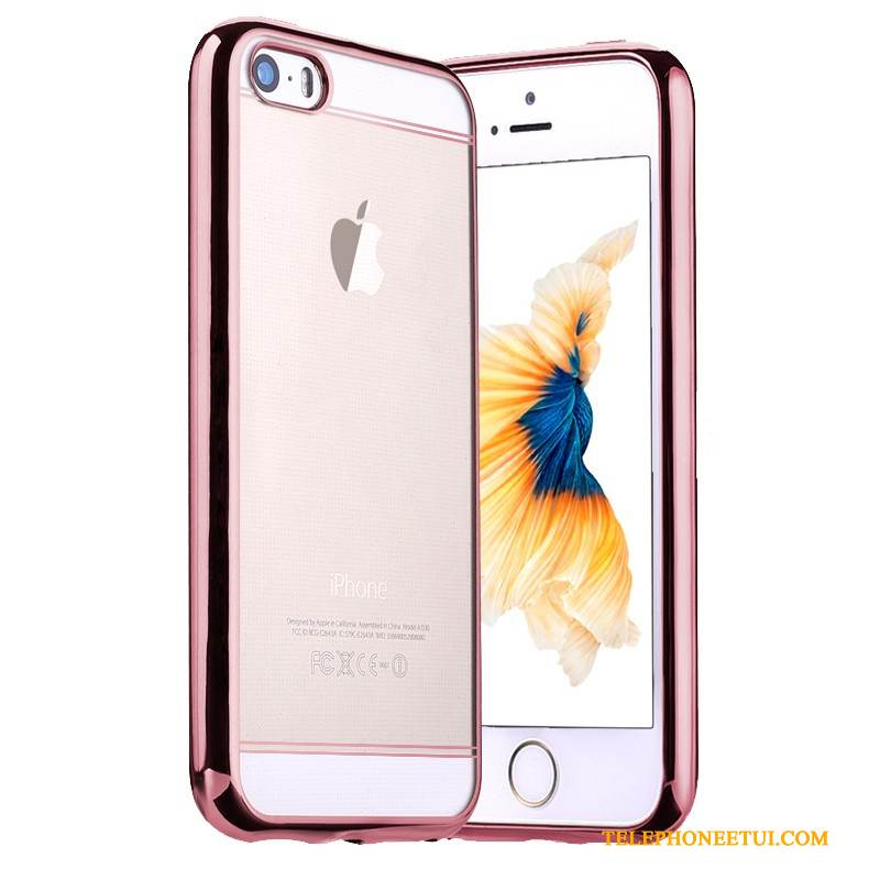 Coque iPhone Se Fluide Doux Placage Rose, Étui iPhone Se Silicone Incassable Tendance