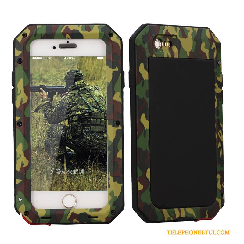 Coque iPhone Se Sacs Camouflage Incassable, Étui iPhone Se Protection Trois Défenses Armure