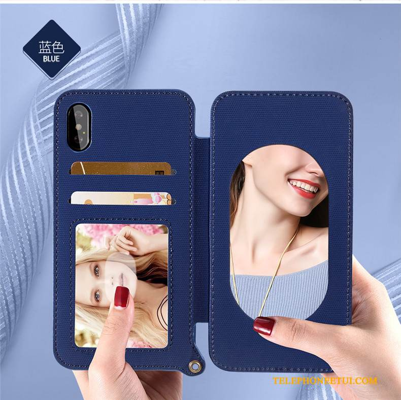 Coque iPhone X Cuir Ornements Suspendus Nouveau, Étui iPhone X Silicone Carte Bleu